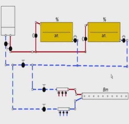 Alt = Двухтрубная схема отопления