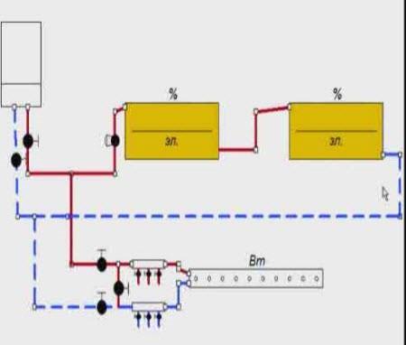 Alt = Однотрубная схема отопления с настенным котлом