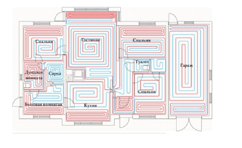 схема монтажа труб в доме